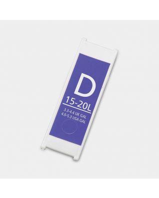Plastic Capacity Tag, Code D, 15-20 litre - Purple