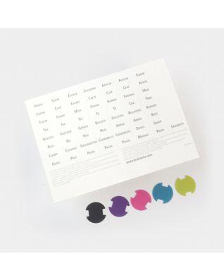 Etiquettes colorées et pré-imprimées