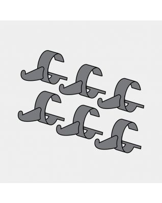 Hooks Hanging Rack, Set of 6 - Black