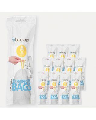 Sacs PerfectFit Code A (3 litres), 12 rouleaux de 20 sacs