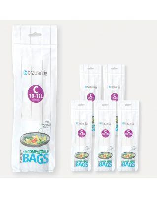 Sacs PerfectFit compostables Code C (10-12 litres), 6 rouleaux de 10 sacs