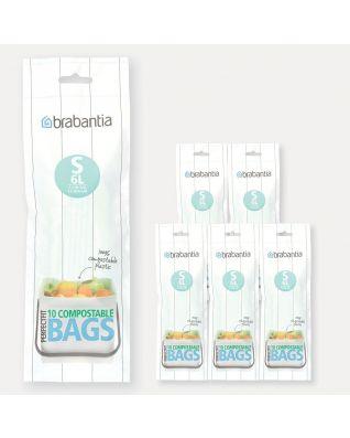 Sacs PerfectFit compostables Code S (6 litres), 6 rouleaux de 10 sacs