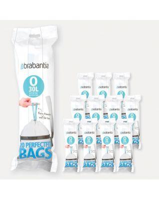 Sacs PerfectFit Pour Bo & FlatBack+, Code O (30 litres), 12 rouleaux de 20 sacs