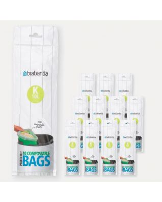 Compostable PerfectFit Bags Code K (10 litre), 12 rolls of 10 bags