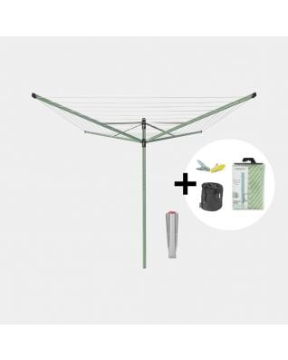 Rotary clothesline set Incl. protective cover & clothespins + bag
