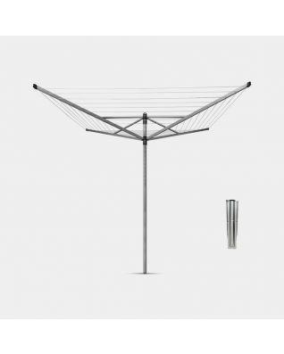 Séchoir Lift-O-Matic 50 mètres, avec ancre de sol, Ø 45 mm - Metallic Grey