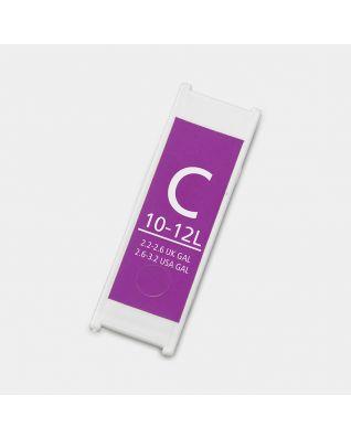 Etiquette litrage plastique, code C, 10-12 litres - Purple