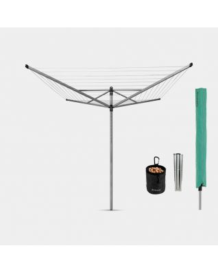 Rotary Dryer Lift-O-Matic Advance 50 metre, with Ground Spike, Cover & Peg Bag, Ø 50 mm - Metallic Grey