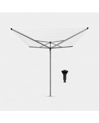 Séchoir Topspinner 50 mètres, avec douille plastique refermable pour béton, Ø 45 mm - Metallic Grey