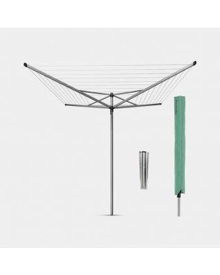 Wäschespinne Topspinner 50 Meter, mit Bodenanker und Schutzhülle, Ø 45 mm - Metallic Grey