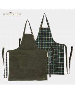 Reversible Apron Khaki vs Checkered Green