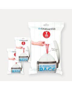 Sacchetti PerfectFit Codice Y (20 litri), 3 confezioni dispenser, 120 Sacchetti