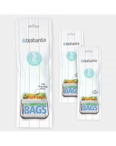 Compostable PerfectFit Bags Code S (6 liter), 3 rolls of 10 bags