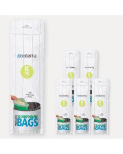 Sacs PerfectFit compostables Code K (10 litres), 6 rouleaux de 10 sacs
