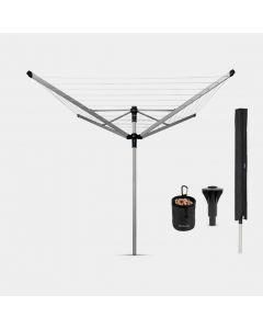Lift-O-Matic Advance Droogmolen 50 meter, met grondanker, hoes & wasknijpertas, Ø 50 mm - Metallic Grey