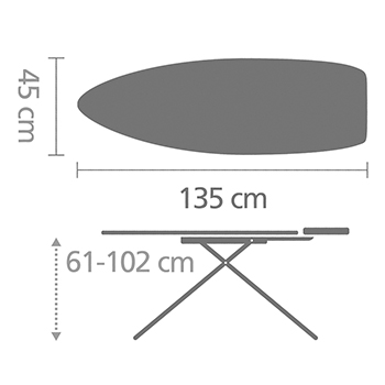 Ironing Board D 135 x 45 cm, for Steam Iron & Generator - Morning